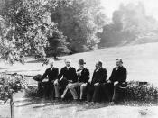 Canadian Prime Minister Sir Wilfrid Laurier and the Right Honourable George Reid, Premier of New South Wales and later Prime Minister of Australia, at Hawarden Castle, Wales, at the time of Queen Victoria's Jubilee, alongside W. E. Gladstone, the former B