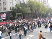 English: A view of the march from the teachers' college to the Zocalo in Mexico City to commemorate the 40th anniversary of the Tlatelolco Massacre