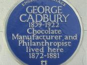 English: Blue plaque to George Cadbury at 32 George Road, Edgbaston, Birmingham, England. Photographed by me 7 April 2007. Oosoom