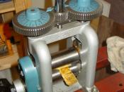Rolling mill for cold rolling metal sheet like this piece of brass sheet