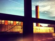 Smokestack Crossing #smokestack #window #sky #sun...