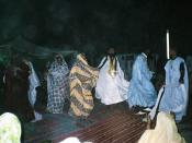 Dancing guests at a wedding party in Mauritania