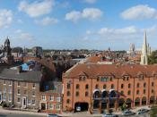 View from York Castle in York, England facing York Minster.