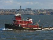 Justine McAllister (IMO 8107878), a tug boat in New York Harbor.