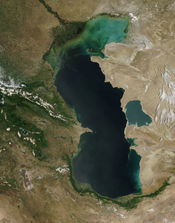 Eutrophication is apparent as increased turbidity in the northern part of the Caspian Sea, imaged from orbit.