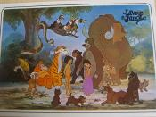 The characters as depicted in Disney's The Jungle Book. Atop the tree: Kaa, , Buzzie, Ziggy, Flaps, Dizzy. Below the tree: Flunkey, King Louie, Shere Khan, Mowgli, Bagheera, Baloo, Shanti, Junior, Hathi. Front row: Two wolf cubs, Akela and Father Wolf/Ram