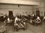 Student teachers practice teaching kindergarten at the Toronto Normal School, Canada