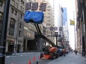 English: Lighting equipment used for the 2010 film Sorcerer's Apprentice, parked on the east side of lower Broadway between Bowling Green and Exchange Place.