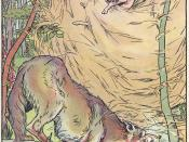 The wolf blows down the straw house in a 1904 adaptation of the fairy tale Three Little Pigs This is one one of the less intelligent pigs..