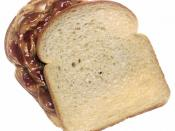 a peanut butter and jelly sandwich, top slice of bread turned clockwise to show the peanut butter and jelly filling