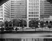 English: VIEW SOUTH, DETAIL OF NORTH (FRONT) ELEVATION General Motors Building, 3044 West Grand Boulevard, Detroit, Wayne County, MI The General Motors Building was built as the headquarters of the General Motors Company during the period when the company