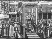 Latimer preaching to a crowd, including Edward VI, in Westminster, from John Foxe's book (1563)