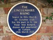 English: Lincolnshire Rising plaque Blue plaque by St.James' church commemorating the Lincolnshire Rising or 'Pilgrimage of Grace' protests against the establishment of the Church of England and dissolution of the monasteries - brutally suppressed by King