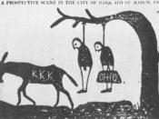 A cartoon threatening that the KKK would lynch carpetbaggers. Tuscaloosa, Alabama, Independent Monitor, 1868.