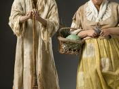 Historical Mixed Media Figures of a French peasant family circa 18th century produced by artist/historian George S. Stuart and photographed by Peter d'Aprix. This image, from the George S. Stuart Gallery of Historical Figures® archive (http://www.galleryh