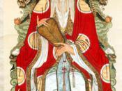 English: A painting of the Daode Tianzun ('the Heavenly Lord of Dao and its Virtue'), the deified Laozi, one of the supreme divinities of Daoism. Français : Une peinture du Daode Tianzu (« le Seigneur célèste du Tao et son Vertu »), Lao-tseu déifié, l'une