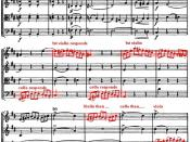 Score of Haydn quartet Opus 20 No 4, annotated