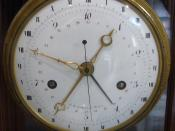 English: A clock made in Revolutionary France, showing the 10-hour metric clock.