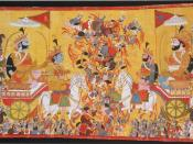 English: The painting depicts the battle of Kurukshetra of the Mahabharata epic. On the left the Pandava hero Arjuna sits behind Krishna, his charioteer. On the right is Karna, commander of the Kaurava army.