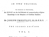 Title page from Joseph Priestley's Institutes of Natural and Revealed Religion