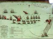 English: A True Position of the French Fleet as they were moored near the Mouth of the Nile and the manner in which Lord Nelson formed his attack on them