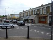 English: Evelina Road - Nunhead. Evelina Road, Nunhead, London SE. Looking towards Ayre's Bakery.