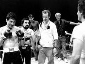 The filming of the boxing scenes with director, Scorsese (center left, with beard) and the director of photography, Michael Chapman (center right, with white shirt).