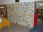 Story Book Wall at Alamogordo (New Mexico) Public Library, outside the Children's Library. Dedicated May 1963. Local schoolchildren drew illustrations for their favorite story books and these were transferred to ceramic tiles and baked on.