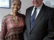 English: Singer & Radio Personality Angela McKenzie photographed with Singer-Songwriter and 79th US Attorney General John D. Ashcroft.
