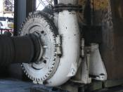 Warman centrifugal pump, driven by electric motor via vee belts