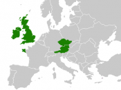 map of Europe with Great Britain, Ireland, the Czech Republic, Austria and (the western part of) Brittany highlighted. Intended to illustrate a high prevalence of the G551D mutation of the Cystic fibrosis transmembrane conductance regulator (CFTR) gene in