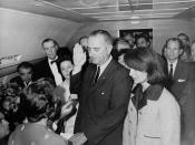 Lyndon B. Johnson taking the oath of office on Air Force One following the assassination of John F. Kennedy, Dallas, Texas, November 22, 1963