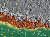 Mount Everest (Sagarmathaसगरमाथा) relief map
