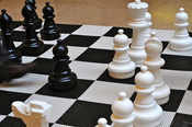 English: A large chess game inside Enoch Pratt Free Library in Baltimore, MD, USA