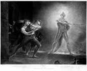 English: Hamlet, Prince of Denmark, Act I, Scene IV by Henry Fuseli. Hamlet, Horatio, Marcellus, and the Ghost, on platform before the Palace of Elsinor.