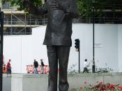 The statue of Nelson Mandela in Parliament Square, London. Sculptor: Ian Walters