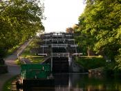 Staircase of five locks, dating from 1774, at Bingley, England
