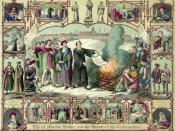 English: Print shows Luther burning papal bull of excommunication, with vignettes from Luther's life and portraits of Hus, Savonarola, Wycliffe, Cruciger, Melanchton, Bugenhagen, Gustav Adolf, & Bernhard, duke of Saxe-Weimar. 1 print : lithograph, color.