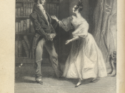 An 1833 engraving of a scene from Chapter 59 of Jane Austen's Pride and Prejudice. Mr. Bennet is on the left, Elizabeth on the right. This, along with File:Pickering - Greatbatch - Jane Austen - Pride_and_Prejudice - This is not to be borne, Miss Bennet.j