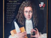 English: A memorial portrait of Robert Hooke for Gresham College, London, where Hooke was Professor of Geometry. It lists his varied achievements and shows him with his record book of experiments for The Royal Society, a spring and quill pen, dressed as a