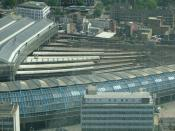 Waterloo station from the London Eye with Waterloo International at the bottom of the picture.