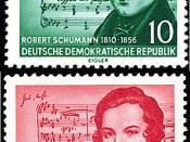 English: Postage stamps of GDR, Schumann (music by Schubert) and Schumann (music by Schumann), 10 Pf and 20 Pf, 1956 Deutsch: Briefmarke der DDR, Schumann (mit Musik von Schubert) und Schumann (mit eigener Musik), 10 Pf and 20 Pf, 1956 Русский: Почтовые м