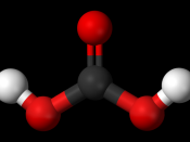 Ball and stick model of the carbonic acid molecule.