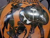 Herakles fighting Geryon (dying Eurytion on the ground). Side A from an Attic black-figure amphora, ca. 540 BC.