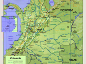 Shaded relief map of Colombia