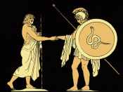 Pelias sends forth Jason, in an 1879 illustration from Stories from the Greek Tragedians by Alfred Church.