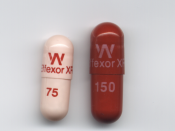 Venlafaxine Extended Release (XR) pills—Effexor® XR 75 mg (left) and Effexor® XR 150 mg (right).