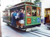 A San Francisco cable car a still operating cable pulled system