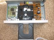 English: Inside a DVD player, tray opened