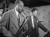 Portrait of Coleman Hawkins and Miles Davis, Three Deuces, New York, N.Y.